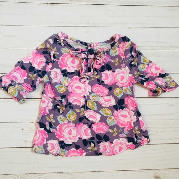Oshkosh Toddler Girls Top Size  4T NWT Pink Stripe Floral
